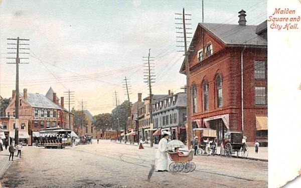 Malden Square & City Hall Massachusetts Postcard