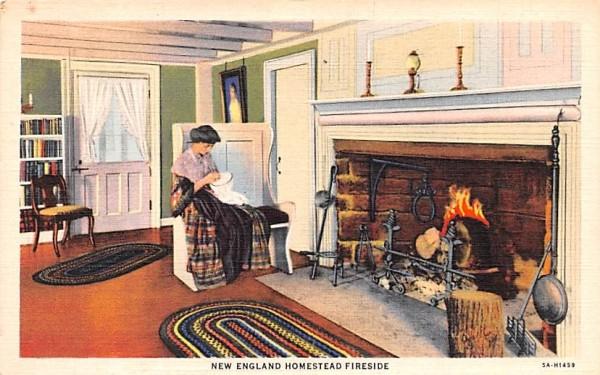 New England Homestead Fireside Misc, Massachusetts Postcard