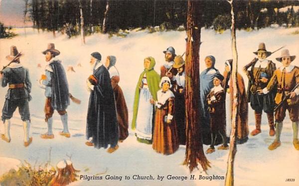Pilgrims Going to Church Misc, Massachusetts Postcard