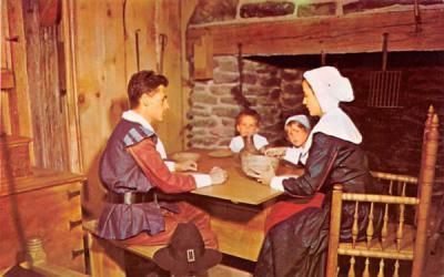 A Pilgrim Family  Misc, Massachusetts Postcard