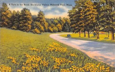 A Turn in the Road Mohawk Trail, Massachusetts Postcard