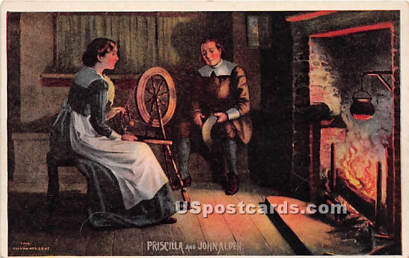 Priscilla & John Alden - Misc, Massachusetts MA Postcard