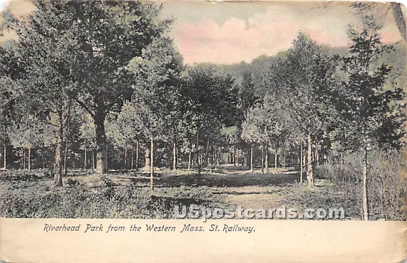 Riverhead Park from Western Mass St Railway - Misc, Massachusetts MA Postcard