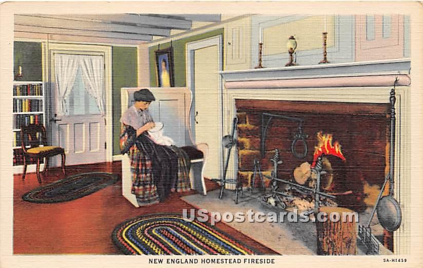 New England Homestead Fireside - Misc, Massachusetts MA Postcard