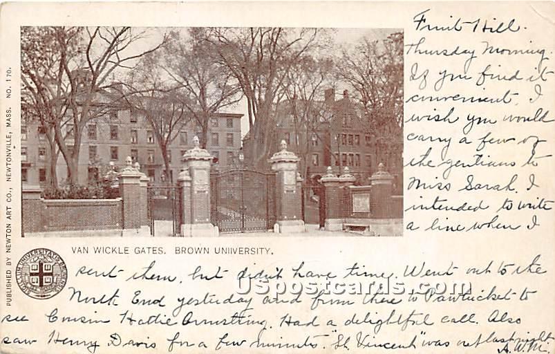 Van Wickle Gates at Brown University - Misc, Massachusetts MA Postcard