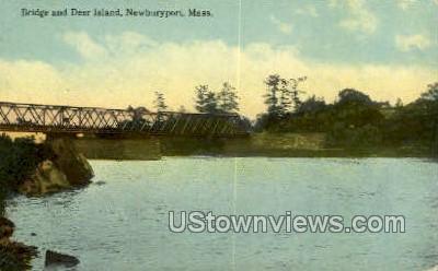 Bridge & Deer Island - Newburyport, Massachusetts MA Postcard