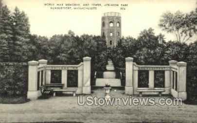 World War Memorial & Tower, Atkinson Park - Newburyport, Massachusetts MA Postcard
