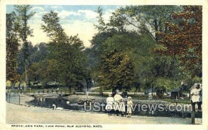 Duck Pond, Brooklawn Park - New Bedford, Massachusetts MA Postcard