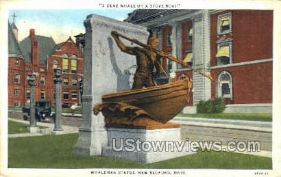 Whaleman Statue - New Bedford, Massachusetts MA Postcard