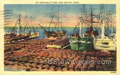Whalers at Pier - New Bedford, Massachusetts MA Postcard