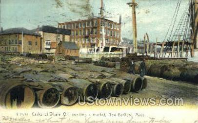 Casks of Whale Oil - New Bedford, Massachusetts MA Postcard
