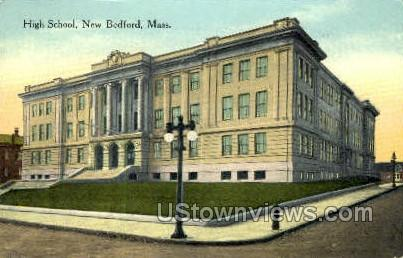 High School - New Bedford, Massachusetts MA Postcard