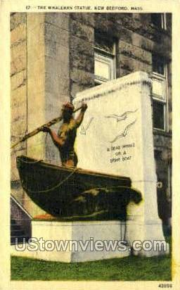 The Whaleman Statue - New Bedford, Massachusetts MA Postcard