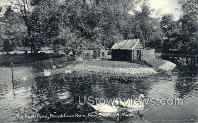 The Duck Pond, Brooklawn Park - New Bedford, Massachusetts MA Postcard