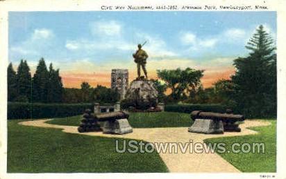 Civil War Monument, Atkinson Park - Newburyport, Massachusetts MA Postcard