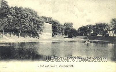 Pond & Court - Newburyport, Massachusetts MA Postcard