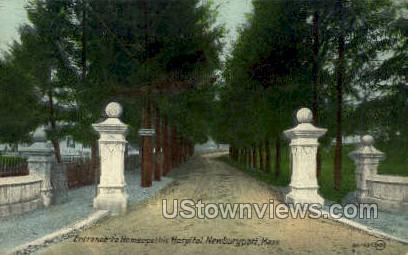 Entrance, Homeopathic Hospital - Newburyport, Massachusetts MA Postcard