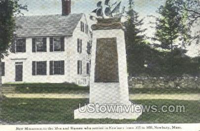 Monument to First Me - Newbury, Massachusetts MA Postcard
