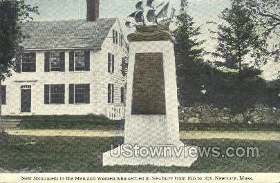 Monument to First Men - Newbury, Massachusetts MA Postcard
