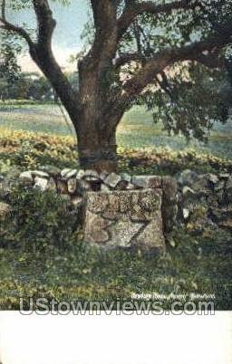 Ancient Milestone - Newbury, Massachusetts MA Postcard