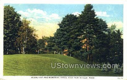 Round Top & Memorial Trees - East Northfield, Massachusetts MA Postcard