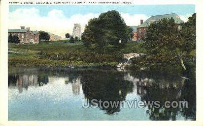 Perry's Pond, Seminary Campus - East Northfield, Massachusetts MA Postcard