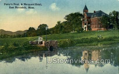 Perry's Pond & Marquard Hotel - East Northfield, Massachusetts MA Postcard