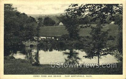 Perry Pond & Bridge - East Northfield, Massachusetts MA Postcard