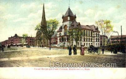 Court House & First Chruch - Northampton, Massachusetts MA Postcard