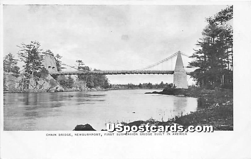 Chain Bridge - Newburyport, Massachusetts MA Postcard