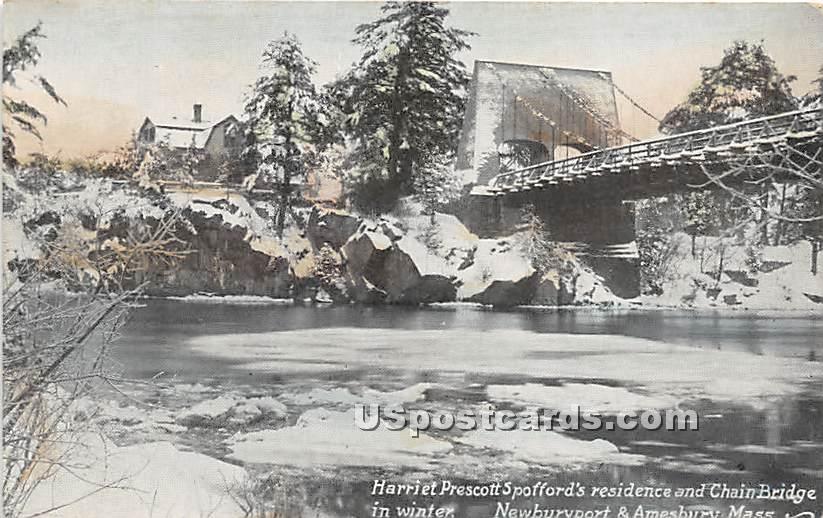 Harriet Prescott Spofford's Residence & Chain Bridge in Winter - Newburyport, Massachusetts MA Postcard