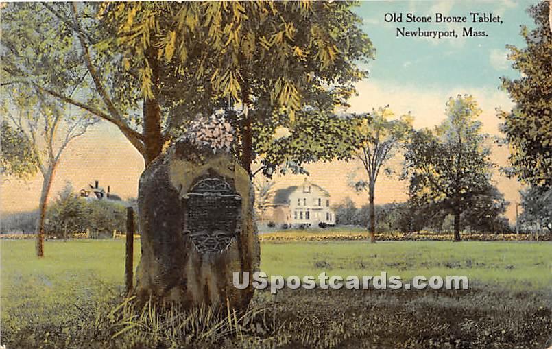Old Stone Bronze Tablet - Newburyport, Massachusetts MA Postcard