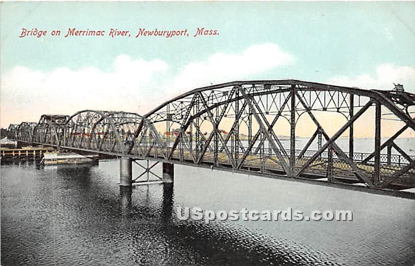 Bridge onMerrimac River - Newburyport, Massachusetts MA Postcard