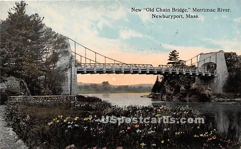 New Old Chain Bridge and Merrimac River - Newburyport, Massachusetts MA Postcard