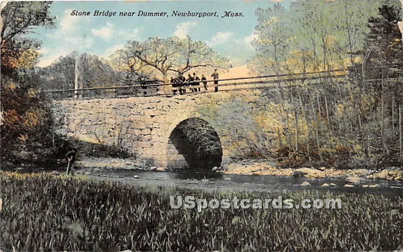 Stone Bridge near Dummer - Newburyport, Massachusetts MA Postcard