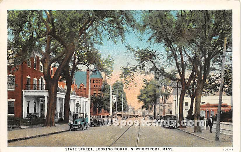State Street Looking North - Newburyport, Massachusetts MA Postcard