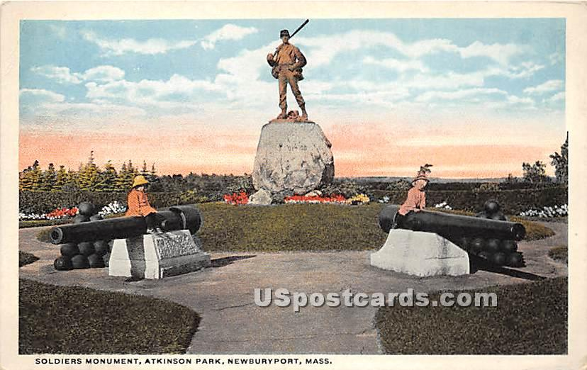 Soldiers Monument & Atkinson Park - Newburyport, Massachusetts MA Postcard