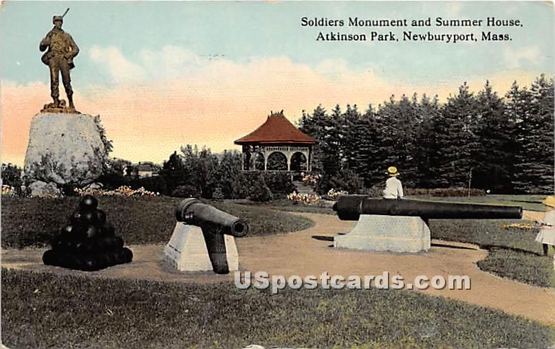 Soldiers Monument & Summer House in Atkinson Park - Newburyport, Massachusetts MA Postcard