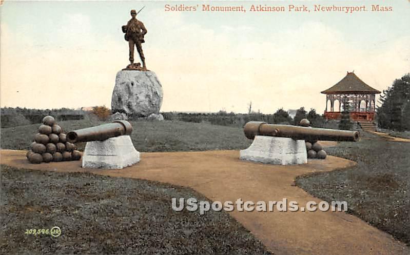 Soldiers' Monument in Atkinson Park - Newburyport, Massachusetts MA Postcard
