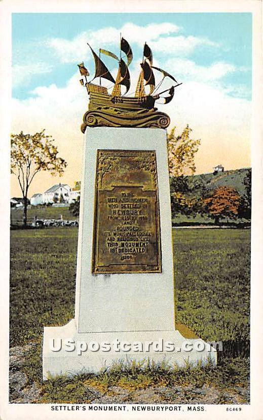 Settler's Monument - Newburyport, Massachusetts MA Postcard