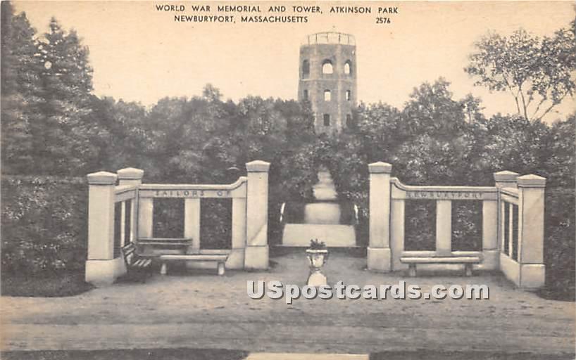 World War Memorial & Tower in Atkinson Park - Newburyport, Massachusetts MA Postcard