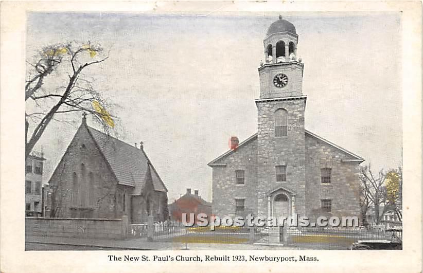 The New St Paul's Church Rebuilt 1923 - Newburyport, Massachusetts MA Postcard