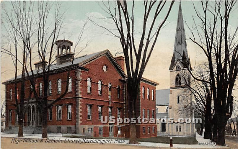 High School & Catholic Church - Newburyport, Massachusetts MA Postcard