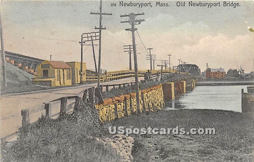Old Newburyport Bridge - Massachusetts MA Postcard
