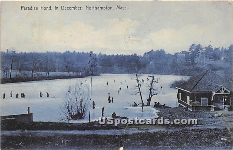 Paradise Pond in December - Northampton, Massachusetts MA Postcard