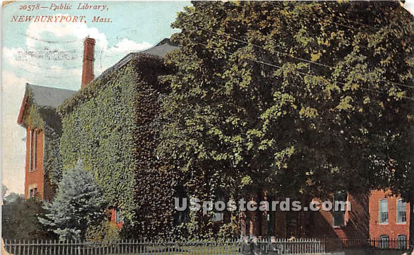 Pubic Library - Newburyport, Massachusetts MA Postcard
