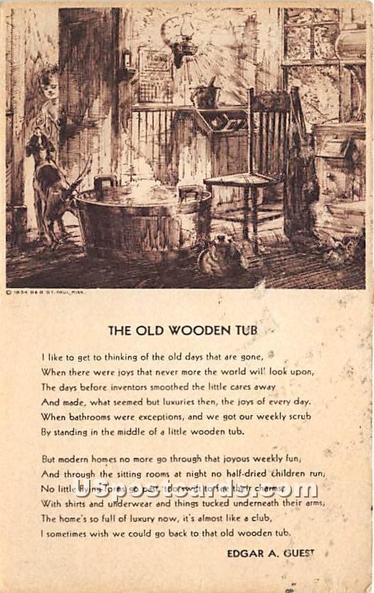 The Old Wooden Tub by Edgar A Guest - Newburyport, Massachusetts MA Postcard