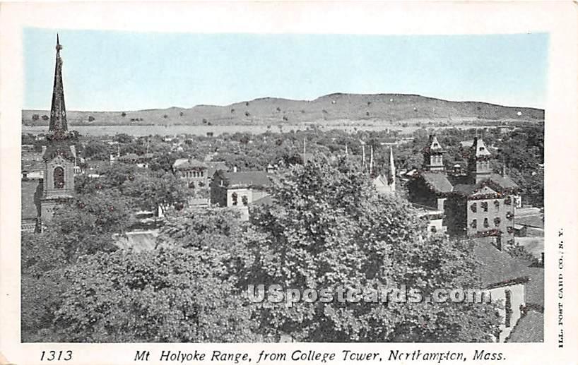 Mt Holyoke Range from College Tower - Northampton, Massachusetts MA Postcard