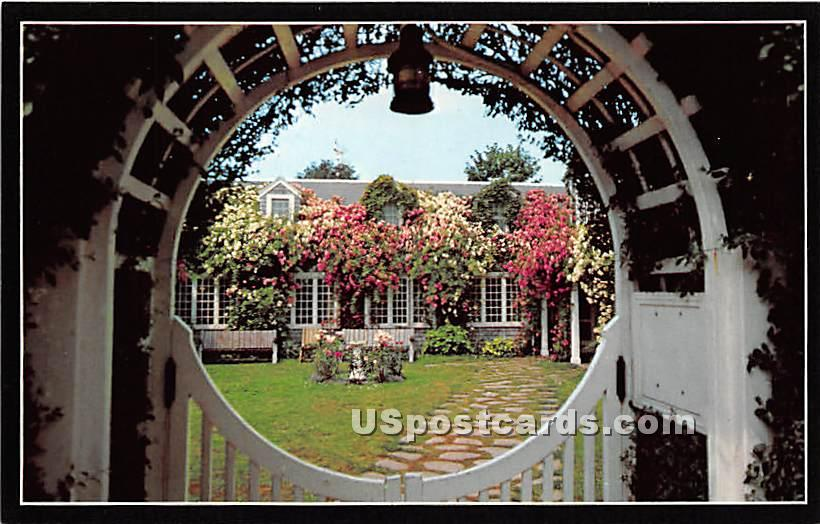 Delightful Rose Cottage Through Entrance Gate - Nantucket, Massachusetts MA Postcard