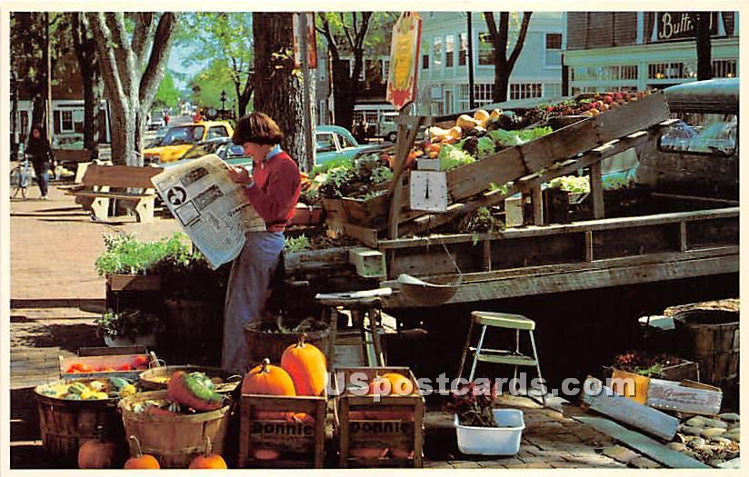 The Outdoor Fruit & Vegetable Stands - Nantucket, Massachusetts MA Postcard